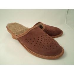 Pantofle męskie ocieplane skóra 19-6504